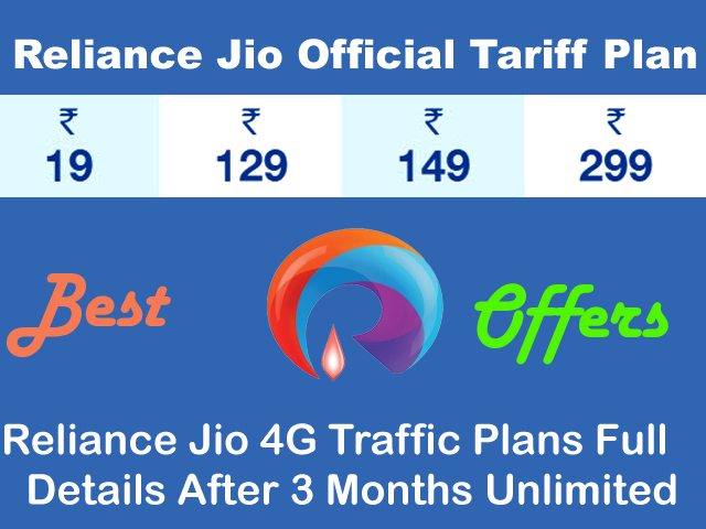 Latest Best Offers Reliance Jio 4G Data Plan