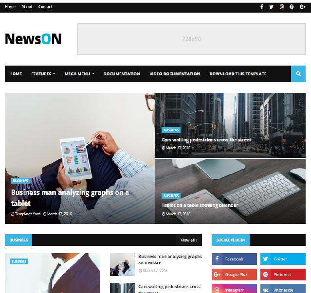 NewsOn Magazine Blogger Template Free